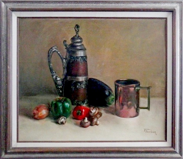 A still life oil painting of a copper cup and pitcher on a table with vegetables, painted by Thelma Doelger